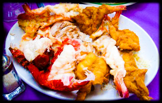 Breaded Shrimp, Grilled Shrimp & Steamed Lobster Combo